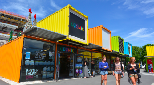 Example of pop-up retail in shipping containers