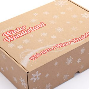 Brown shipping box with Christmas branding