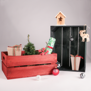 Crates and Christmas decorations